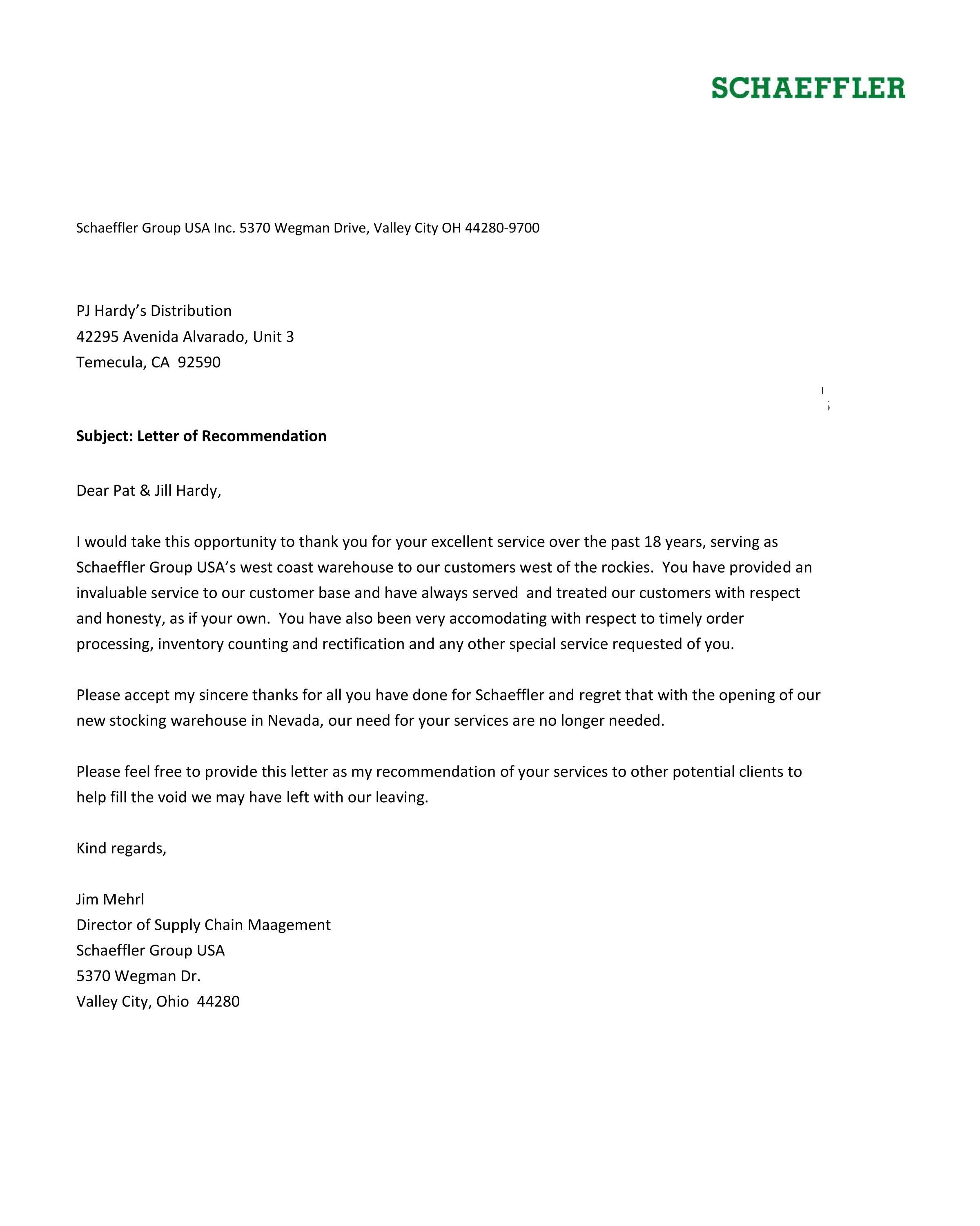 Letter of Recommendation - PJ Hardy's Distribution